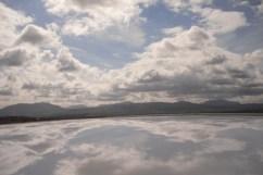 Parece un lago, pero es la parte superior externa del coche. Foto hecha en movimiento.