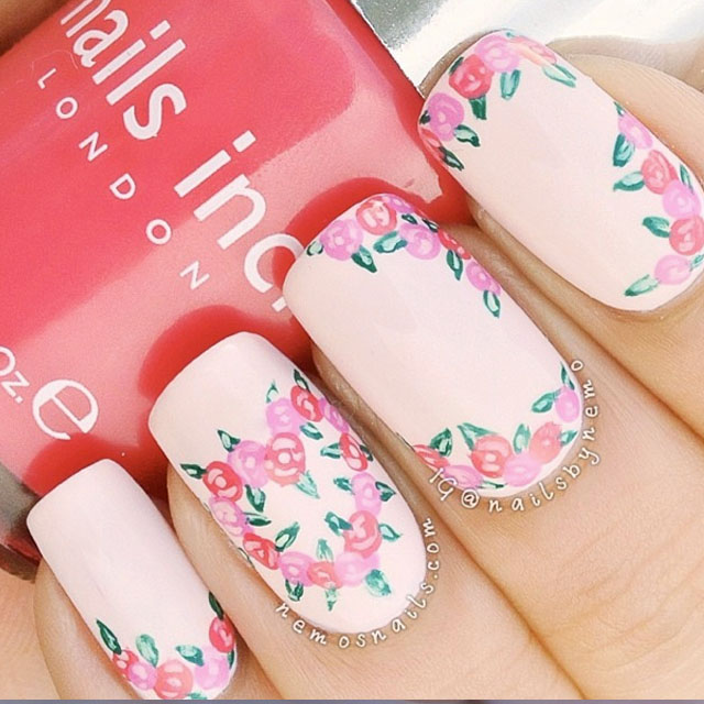 Valentine's Day Nails Rose Pink Nail Art Manicure Nail Designs Valentine Day Inspiration Nails Inc London
