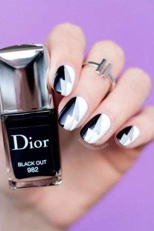 Easy Nail Art Black And White Nails SoNailicious