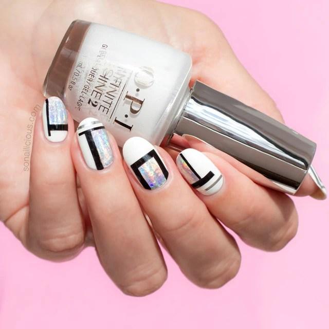 cool nail art, OPI Alpine Snow, white nails