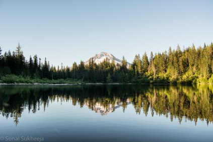 Reflection of Mt Hood in mirror lake at Government Camp, Oregon