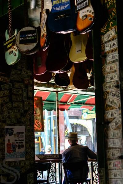 Portrait of a man sitting inside the Rum Boogie Cafe, Memphis, TN