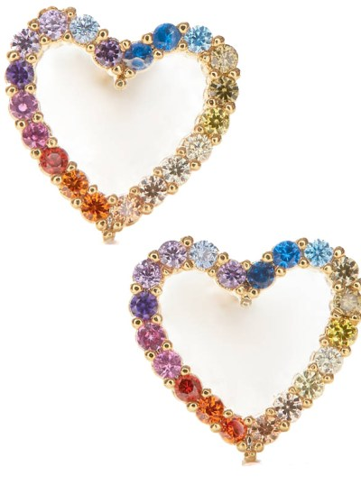 South Moon Under Tai Rainbow Heart Earrings 1