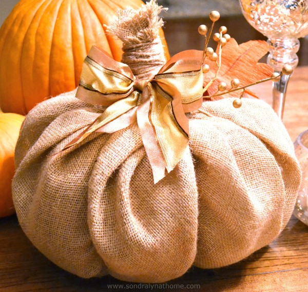 How to Make a burlap-pumpkin- Sondra Lyn at Home