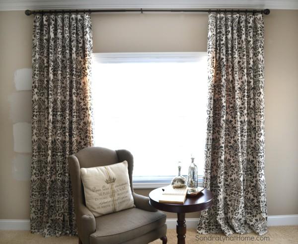 How to Stencil Drop Cloth Curtains - Sondra Lyn at Home