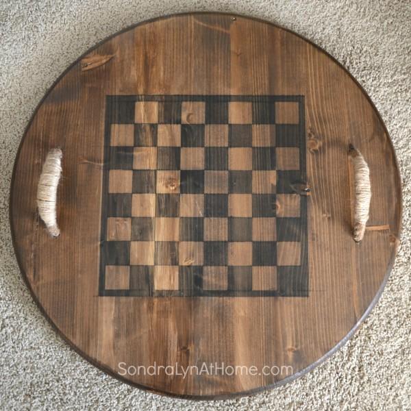 Reversible Checkerboard Wooden Tray- -  Sondra Lyn at Homel