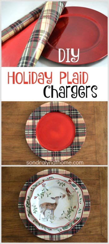DIY Plaid Chargers - Pinnable Image -- with Hallmark and Sondra Lyn at Home