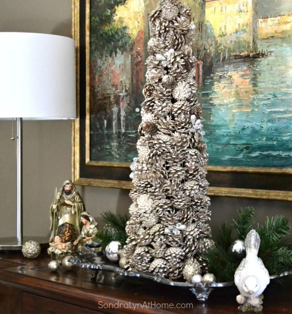 Holiday Buffet 2015 - Pine Cone Tree -- Sondra Lyn at Home.com