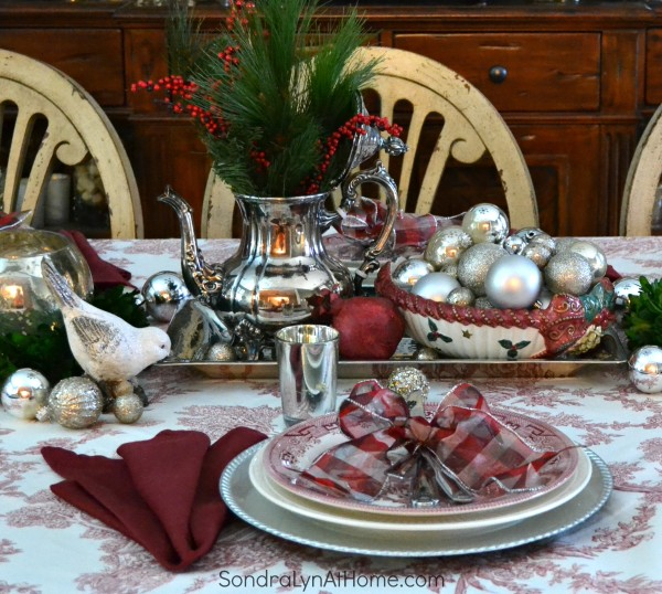 Merry and Toile Tablescape - Silver Tea Service Centerpiece --- Sondra Lyn at Home