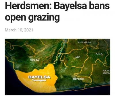 Bayelsa Bans Open Grazing, Rejects Ranching for Herdsmen