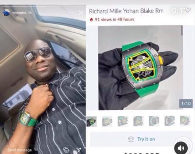 Too Much Money! Mompha Shows Off His N118m Richard Mille Wristwatch