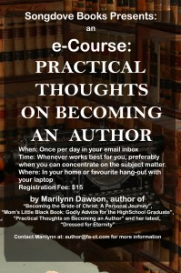 """Songdove Books: e-Course on """"Practical Thoughts on Becoming an Author"""""""