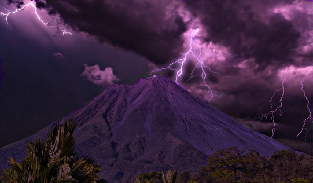 Volcano and lightening