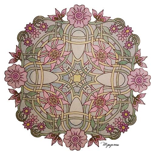 mandalas fleuris exemple crayons