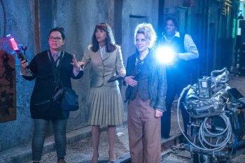 Abby (Melissa McCarthy), Erin (Kristen Wiig), Holtzmann (Kate McKinnon) and Patty (Leslie Jones) in Columbia Pictures' GHOSTBUSTERS.