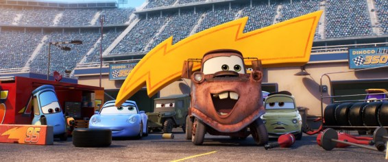 """CARS 3 (Pictured L-R) - Guido, Sally, Sarge, Mater and Luigi. Disney•Pixar's """"Cars 3"""" opens in U.S. theaters on June 16, 2017. © 2017 Disney•Pixar. All Rights Reserved."""
