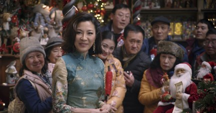 """(foreground) Michelle Yeoh as """"Santa"""" in Last Christmas, directed by Paul Feig."""