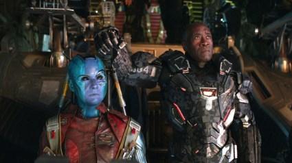 Marvel Studios' AVENGERS: ENDGAME..L to R: Nebula (Karen Gillan) and War Machine/James Rhodey (Don Cheadle)..Photo: Film Frame..©Marvel Studios 2019
