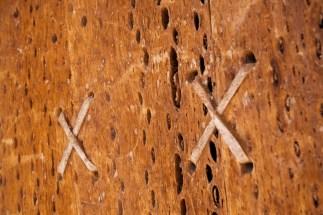 Susques / Chapelle - détail de la porte en bois de cactus