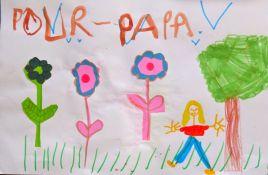 C'est un dessin pour papa. Les fleurs sont en papier.