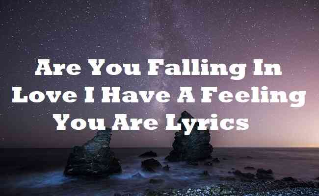 Are You Falling In Love I Have A Feeling You Are Lyrics