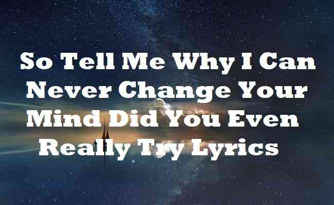 So Tell Me Why I Can Never Change Your Mind Did You Even Really Try Lyrics