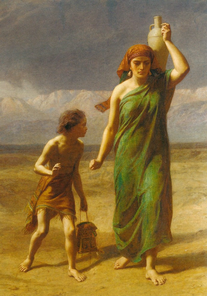 "Image: ""Hargar and Ishmael Driven Away"" by Fredrick Goodall (1822-1904)"