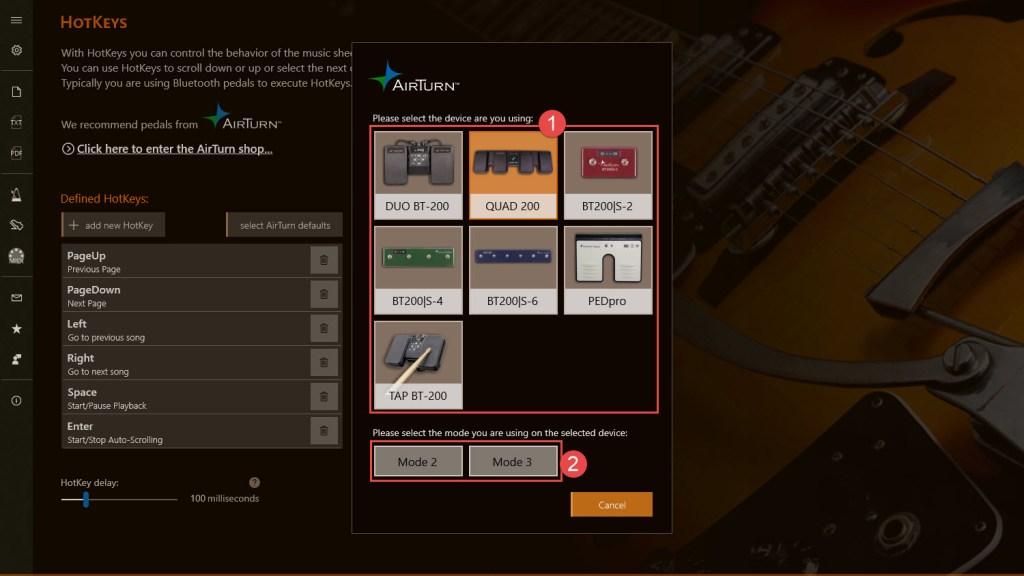 SongRepertoire AirTurn Default Settings