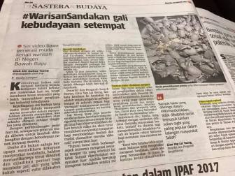 19 January 2017: #WarisanSandakan featured on Berita Harian