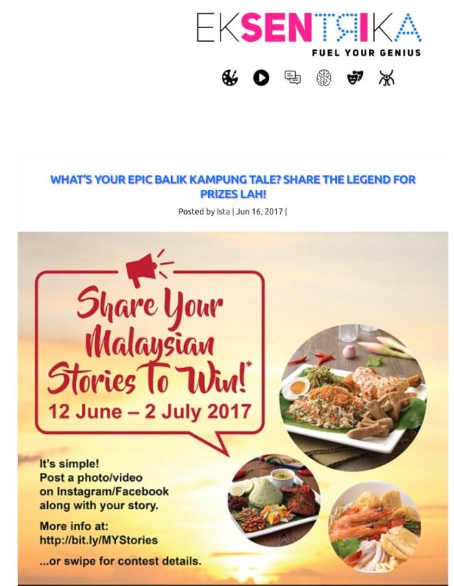 16 June 2017: Balik Kampung series mentioned on Eksentrika