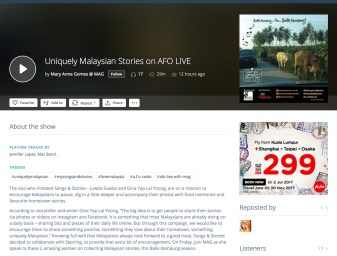 30 June 2017: Balik Kampung series featured on AFO Radio