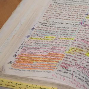 Bible open to the passage where Jesus declared Himself as the Bread of Life