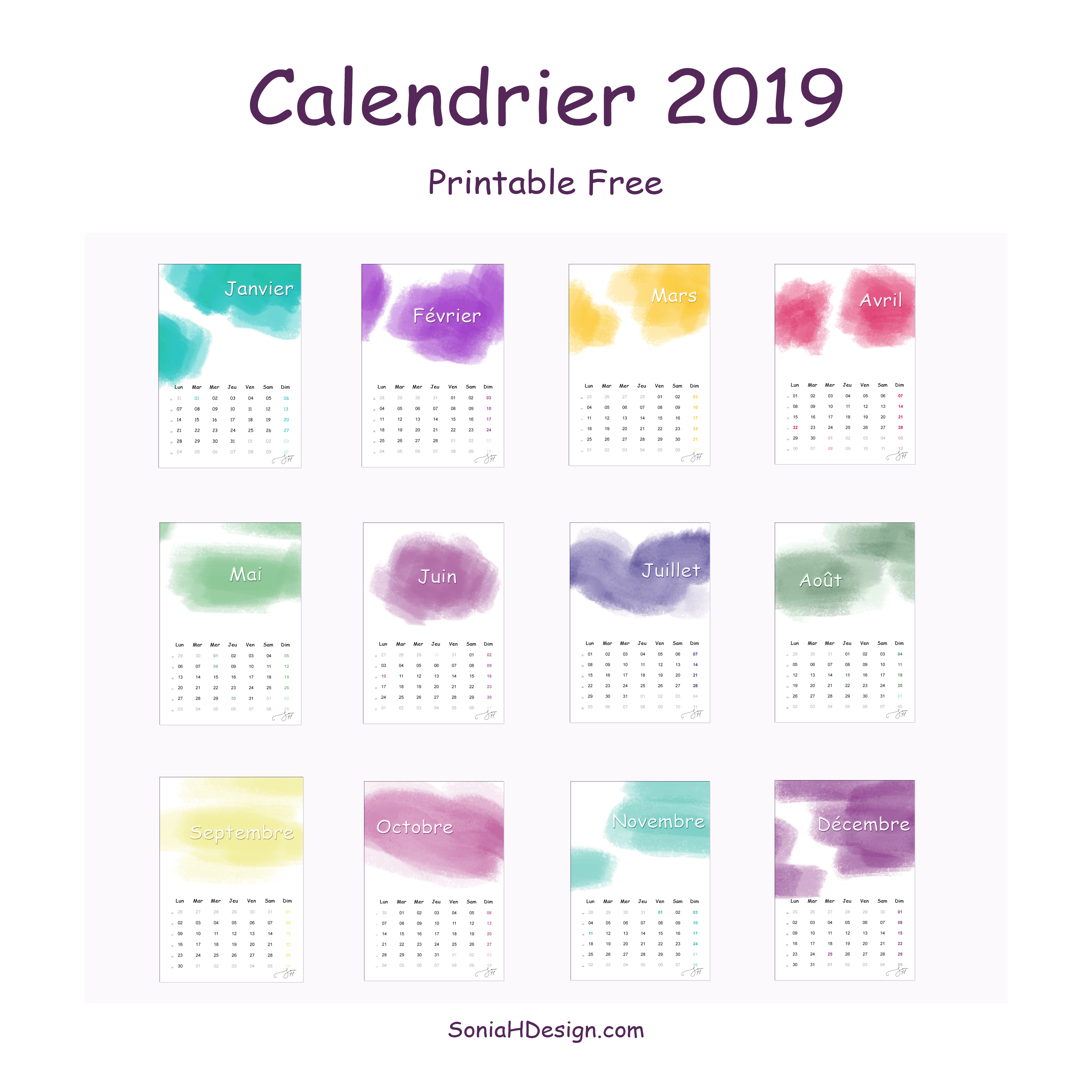 Calendrier Watercolor 2019 (Free Printable)