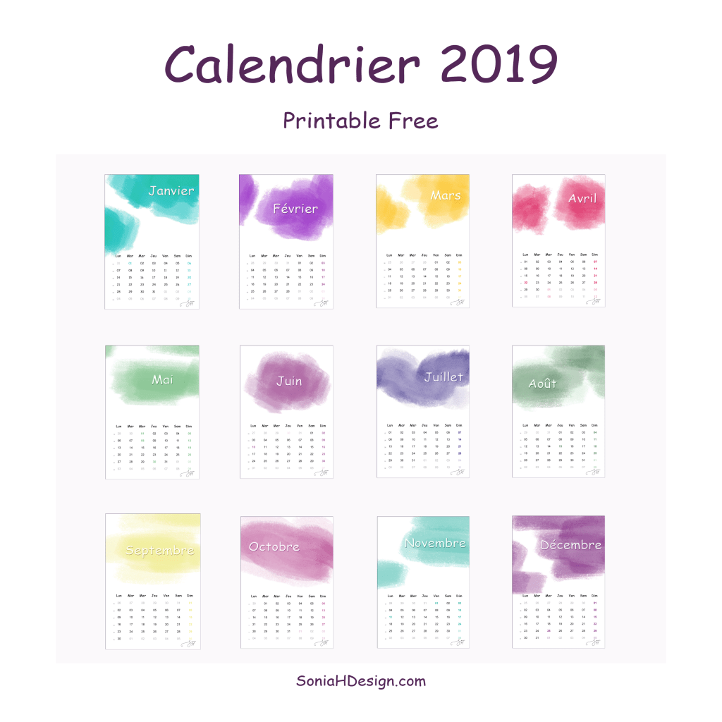 Calendrier 2019 Watercolor Free printable