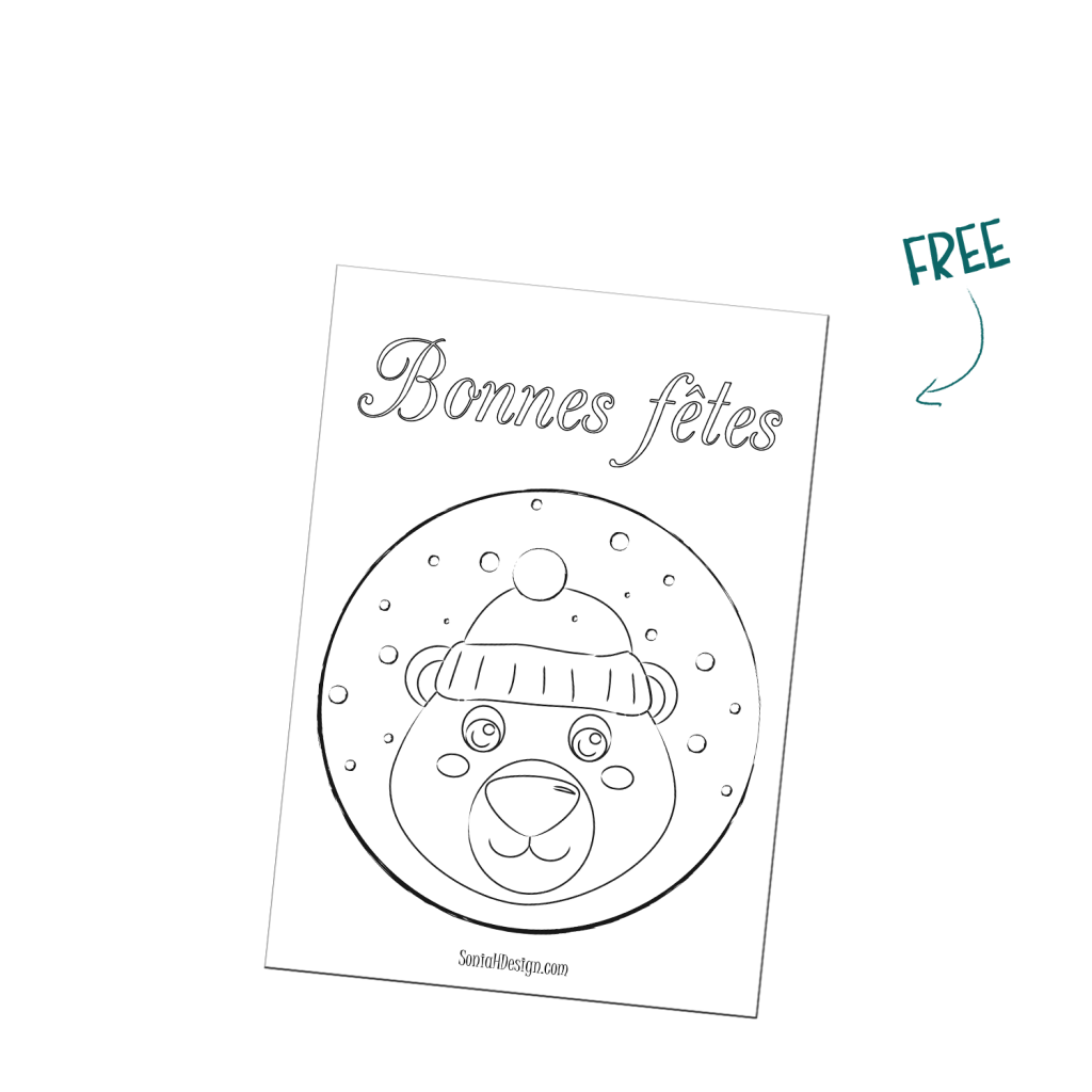 Coloriage/ Coloring Printable Noël Christmas ours polaire