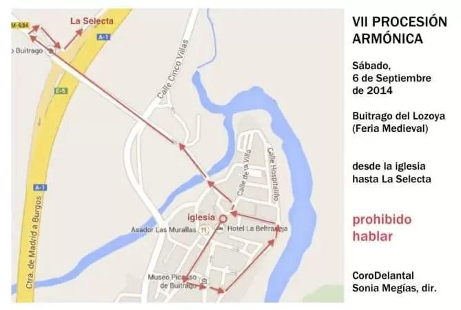 2014'IX. Buitrago del Lozoya. VII Procesión armónica - recorrido