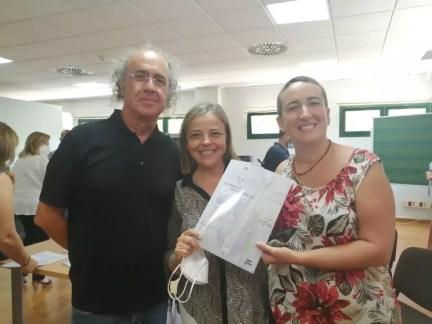 Con Elena Solanes (chelista) y Vicente Roncero (compositor)