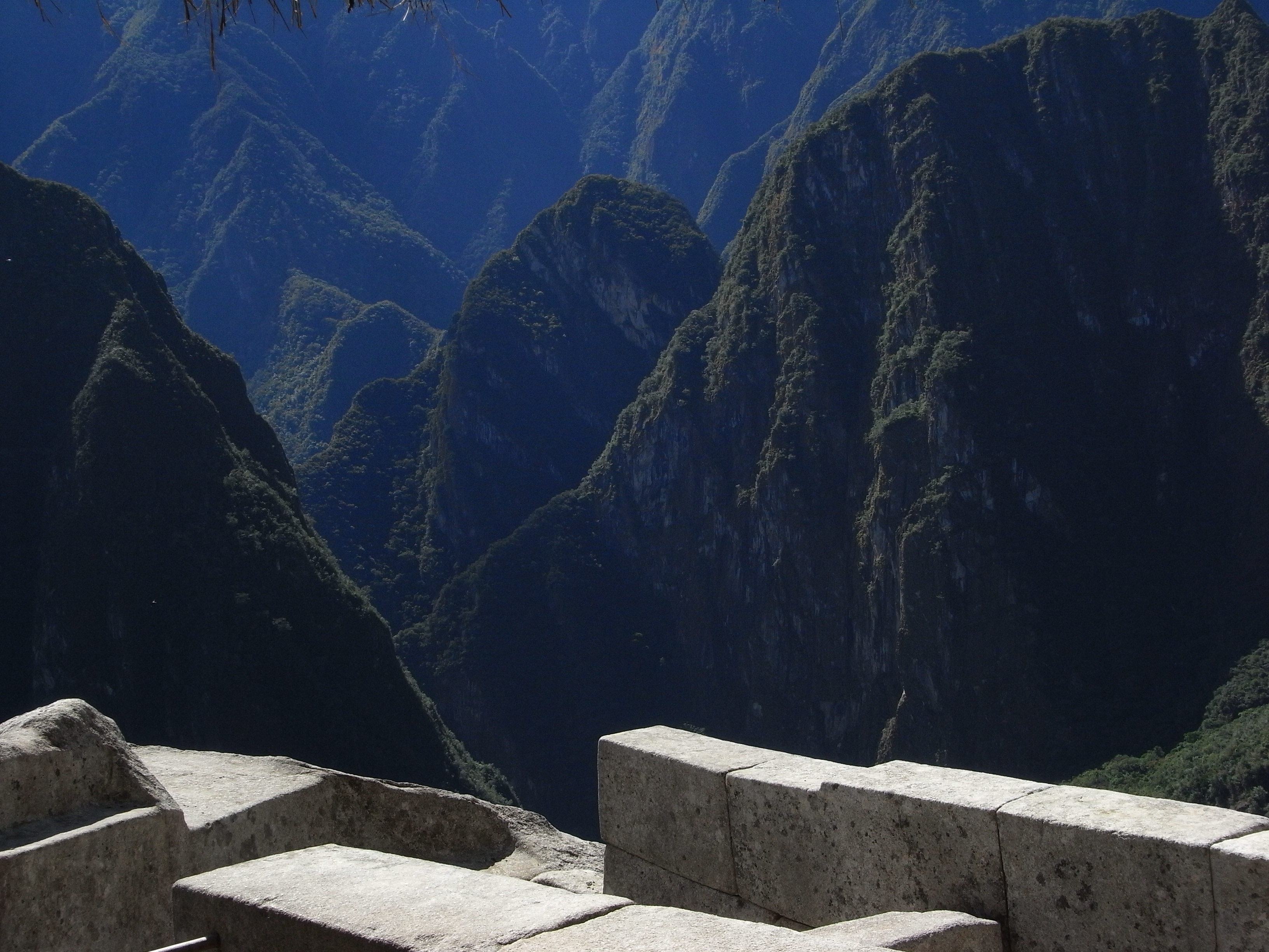 looking into the valley from Machu Picchu