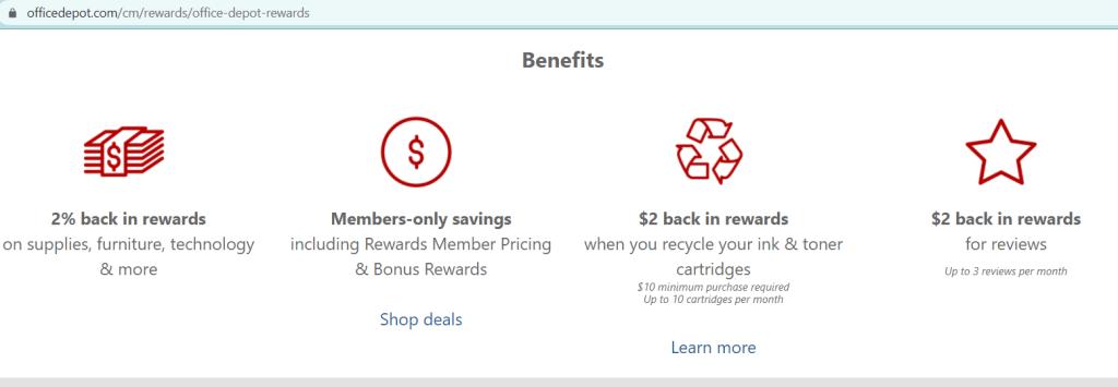 Office Depot Customer benefits