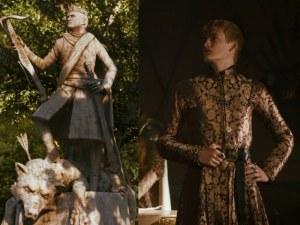 joffrey baratheon estatua con lobo