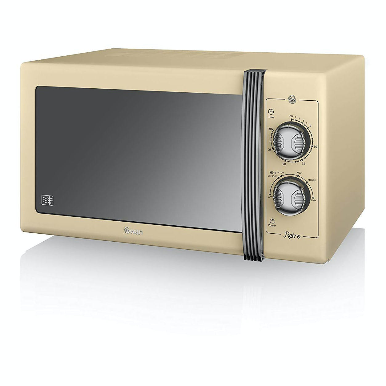 swan sm22070cn retro style microwave oven in cream 25 litre 900w