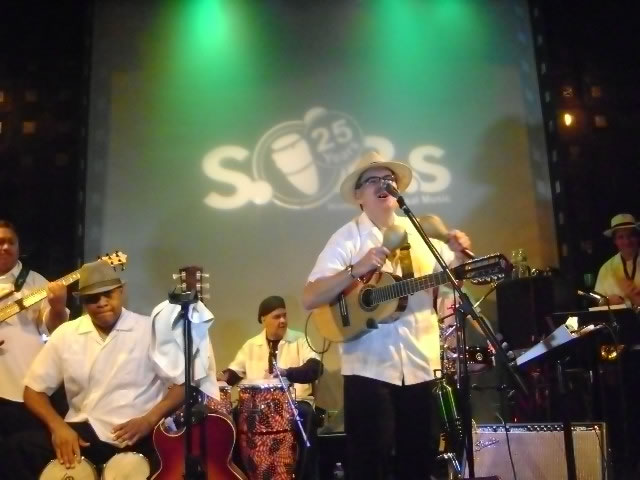 Sonido Costeno with Juan Ma playing maracas and singing Sounds of Brazil at a NYC club