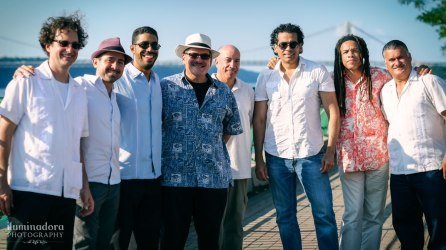 Sonido-Costeno-group-photo-outdoors-tropical-George-Washington-Bridge-Riverbank-State-Park-summer-concert-series-Nestor-Villar-Jose-Rodriguez-Sam-Barrios-David-Freyre-David-Ondrick-Renato-Thoms-Ozzy-Cardona-JuanMa-Morales