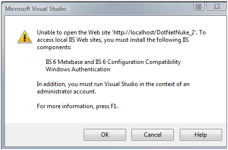 stuck with configuring IIS-7 express in visual studio (1/3)