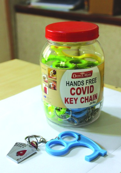 covid keychain jar