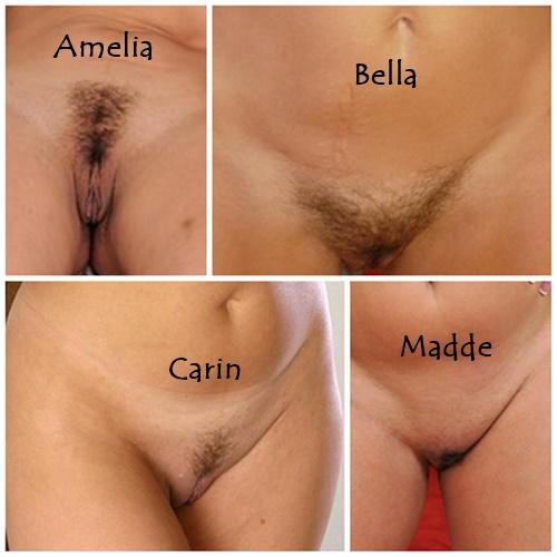 Amelia, Carin, Madde och Bella visar fittan