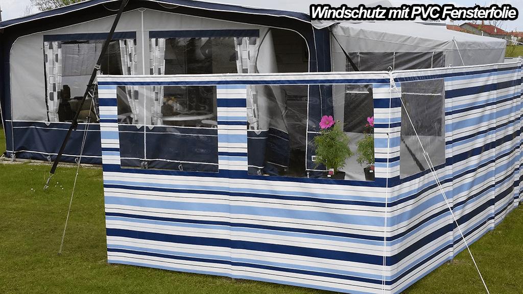 Windschutz mit Sichtfenstern aus PVC Fensterfolie