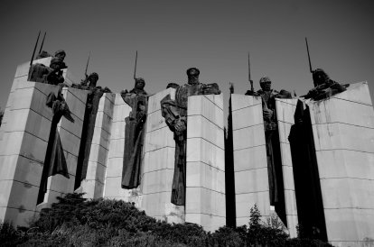 Monument, sozialistisch, soldiers, detail, Samara Flagge, Stara Zagora, Bulgaria, concrete