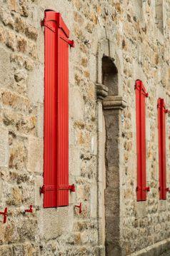Holz, rot, Tür, Fenster, Fensterläden, Eingang