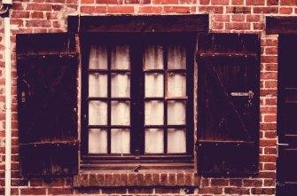 window, Holzladen, Klinker, Backstein